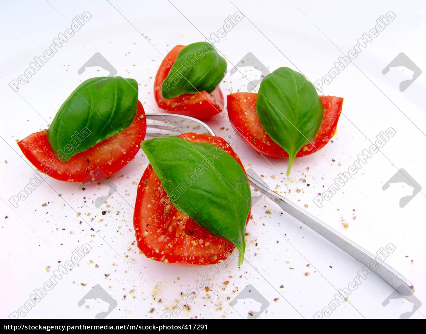 tomate, mit, basilikum - 417291