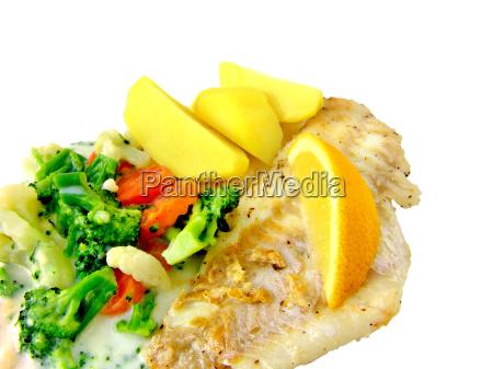rotbarsch, mit, gemüse, und, kartoffeln - 546269