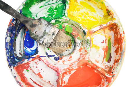 farbpalette mit malpinsel