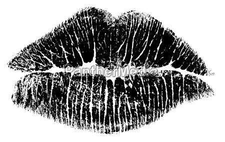 kuss, lippen, bitmap, (nur, schwarz-weiss) - 641483