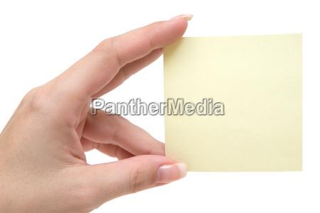 leerer notizzettel in der hand
