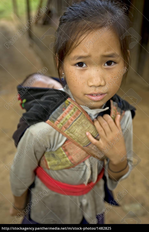 hmong, mädchen, mit, bruder, , laos - 1482825