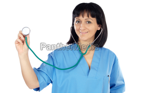 lady doctor whit blue overall