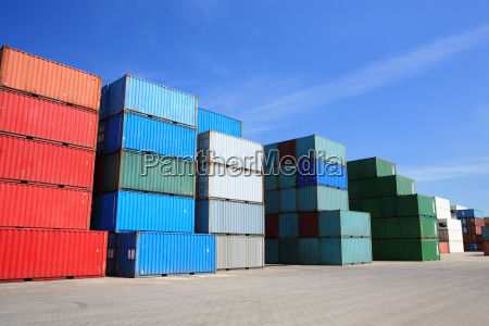 cargo freight containers stack in harbor