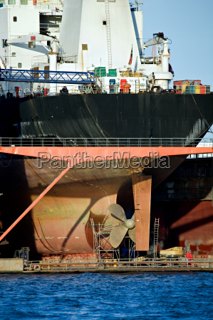 container ship in dry dock