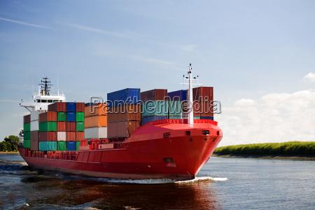 frachtcontainerschiff, auf, fluss - 2063455