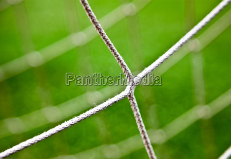 closeup of soccer net strings