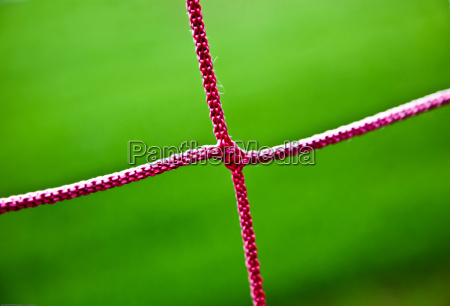red soccer net string closeup