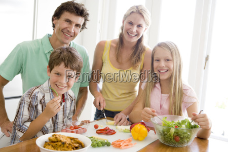 family preparing mealmealtime together