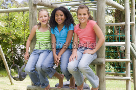 three young girl friends at a