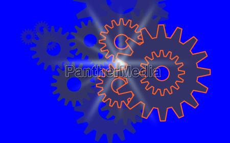 zahnraeder aktion hintergrund blau