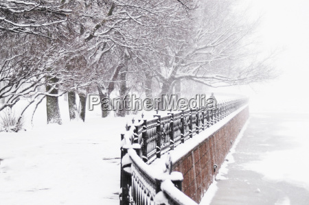 the kronverk embankment at snowfall in