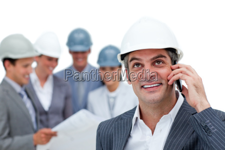 confident male architect on phone in