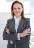attractive businesswoman in front of a