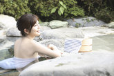 japanese woman soaking the open air
