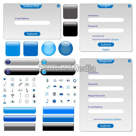grey web template with forms bars