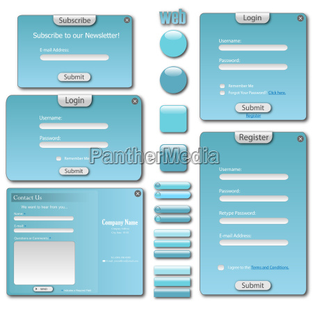 colorful blue web template with forms
