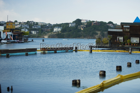 side profile of boathouses in sausalito