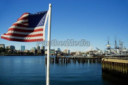 american flag on a boat boston