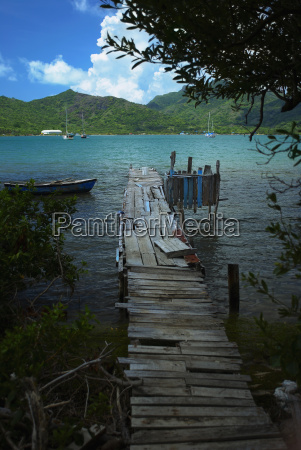damaged pier in the sea providencia