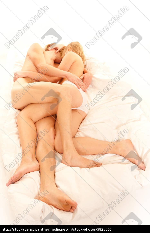 sich, liebendes, junges, paar, im, bett - 3825066