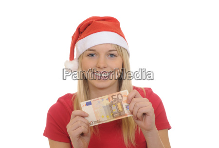 lachende weihnachtsfrau mit fuenfzig euro