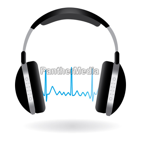 image of headphones and soundwave isolated