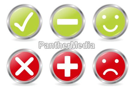 positive und negative buttons