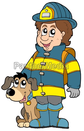 firefighter with dog