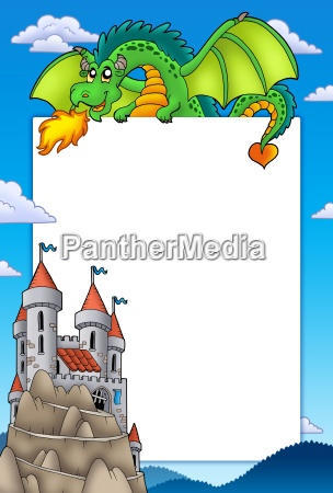 frame with dragon and castle