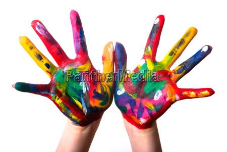 zwei, bunte, hände, v3 - 4442593