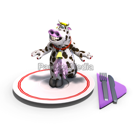 cute and funny toon cow served
