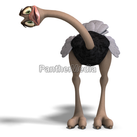 cute toon ostrich gives so much
