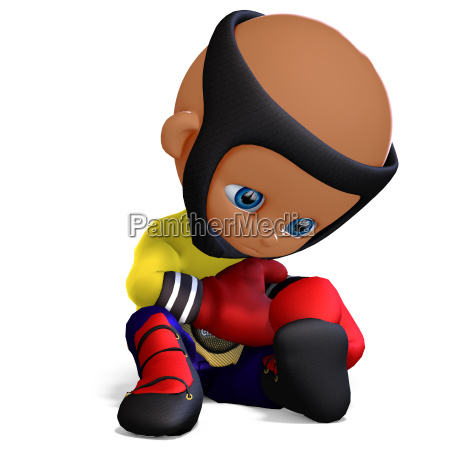 cute and funny childish cartoon boxer