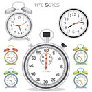 image of various colorful clocks and