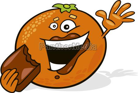 cartoon orange eating chocolate