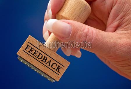 feedback stempel mit hand