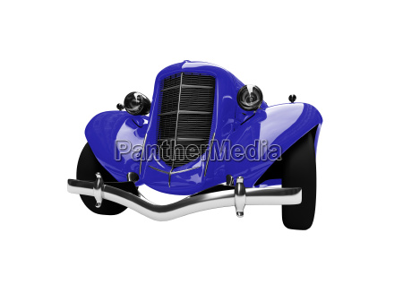 solated vintage blue car front view