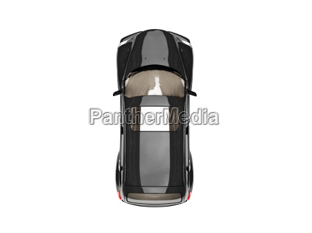 isolated black american car top view