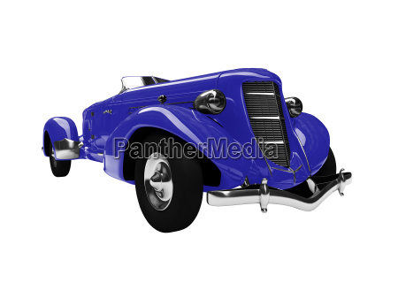 isolated vintage blue car front view