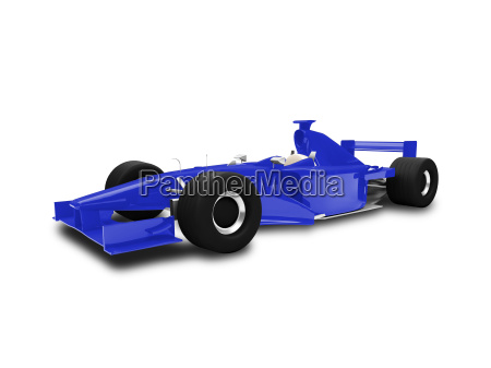 isolated blue speed car front view