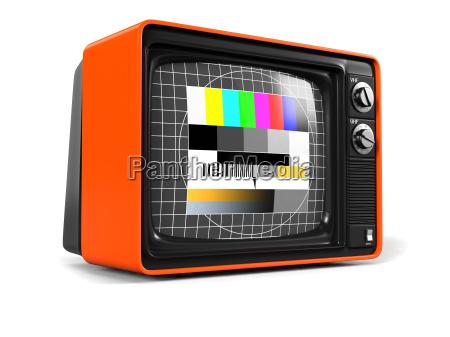 retro tv orangen gehaeuse
