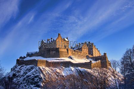 edinburgh castle in a winter sunset