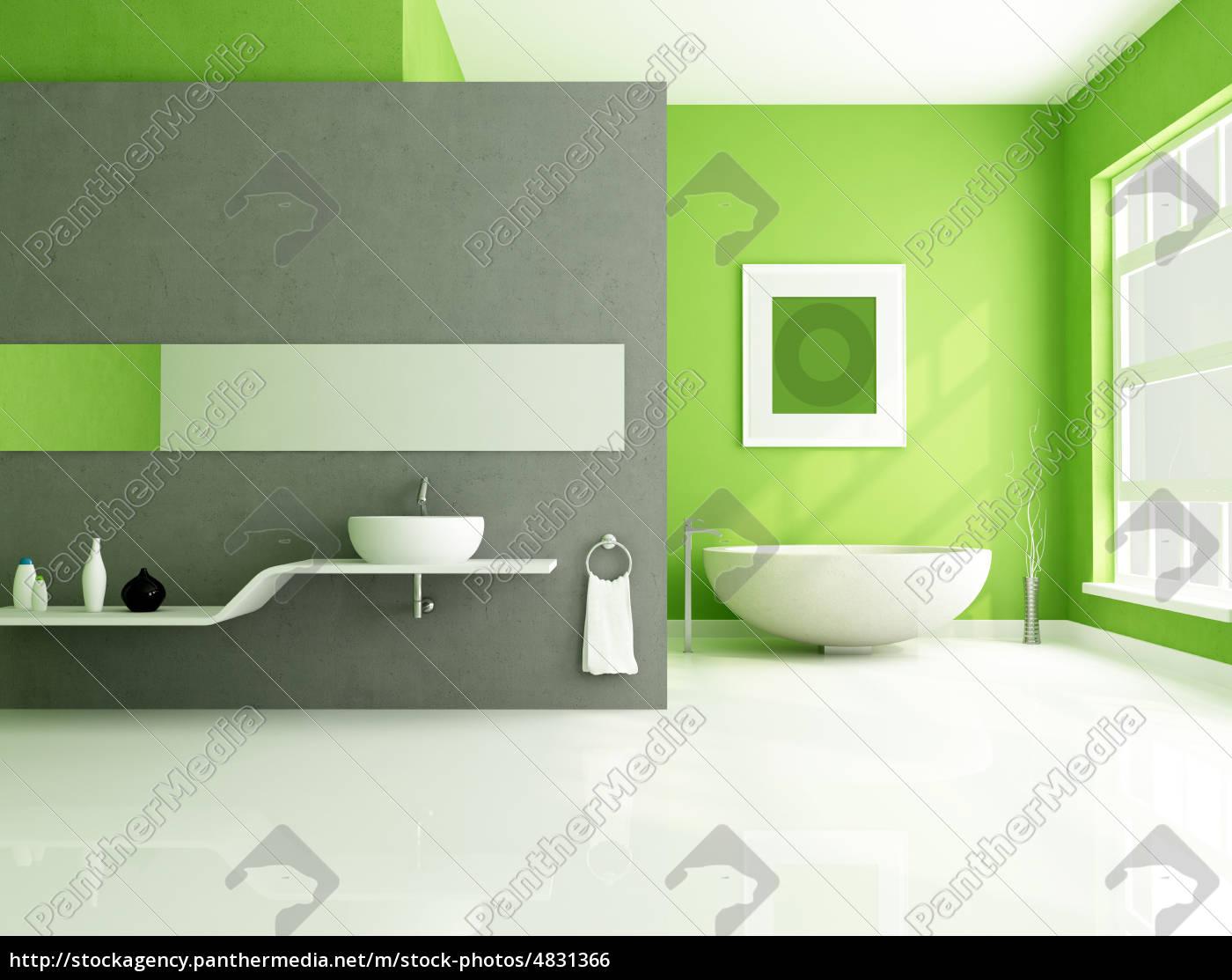 gr n und grau zeitgen ssische badezimmer stock photo 4831366 bildagentur panthermedia. Black Bedroom Furniture Sets. Home Design Ideas