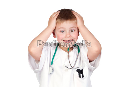 surprised child with doctor uniform