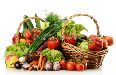 composition with raw vegetables and wicker