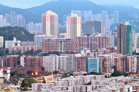 hong kong crowded buildings city