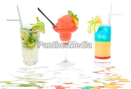 set of three fresh cocktails