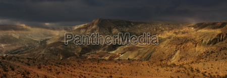 panoramic view on negev desert in