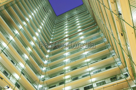 apartment building block at night